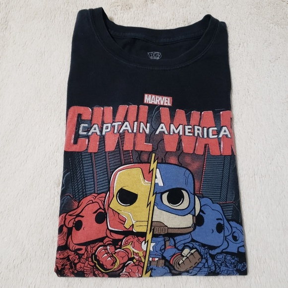 Funko Tops - Funko Pop! Civil War Iron Man Cap America Tee